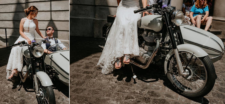 newlyweds sitting on hagrids motorcycle