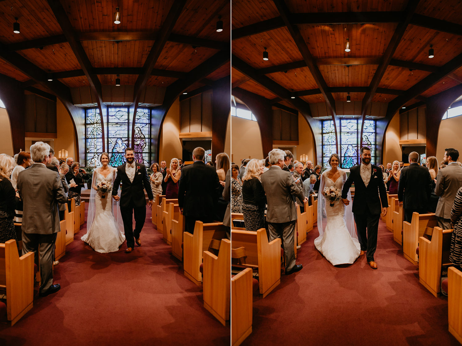 wide view of newlyweds walking down the aisle