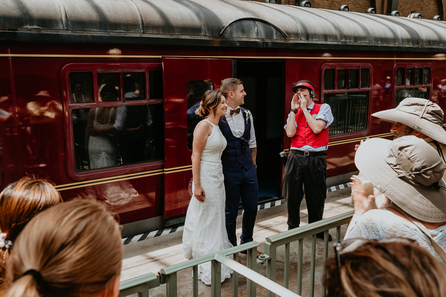 Hogwarts Express conductor announcing the newlyweds