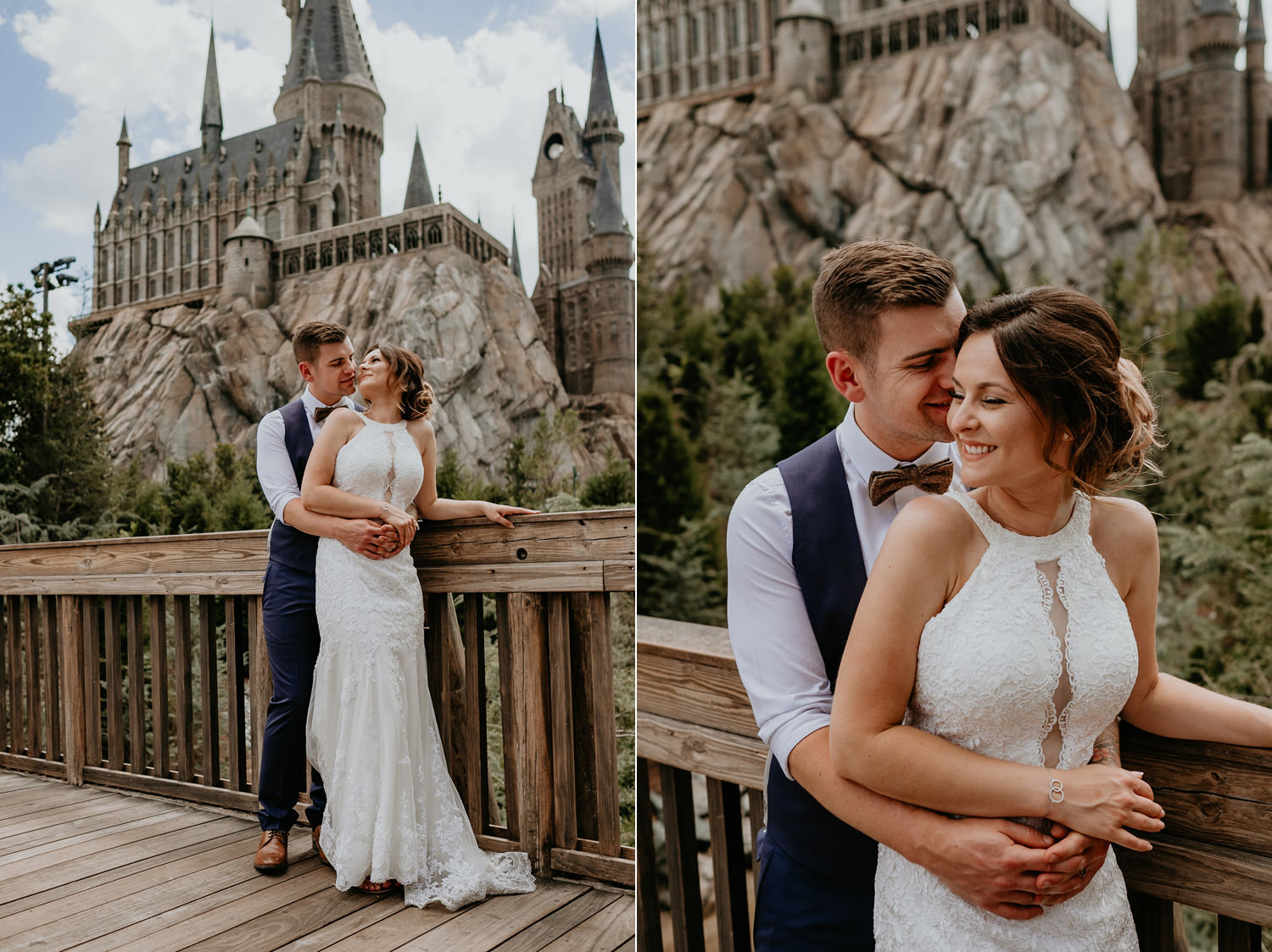 groom hugging bride from behind as she's laughing in front of hogwarts castle