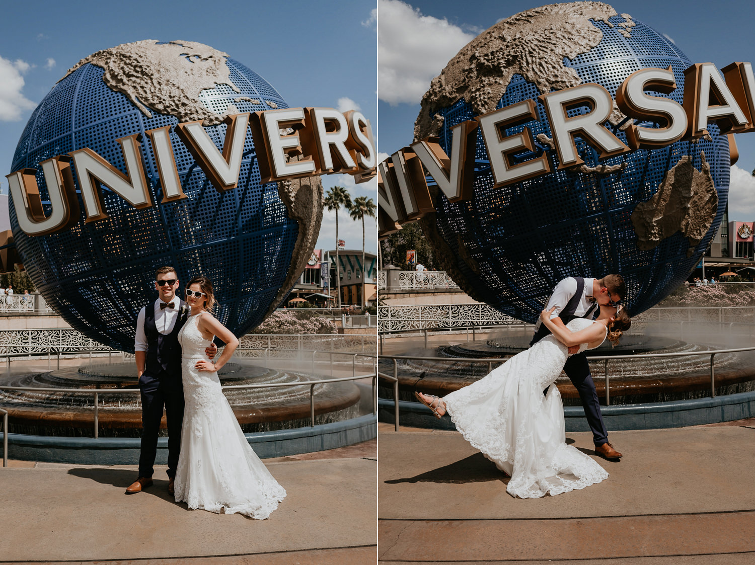 newlyweds posing and kissing in front of Universal Studios globe