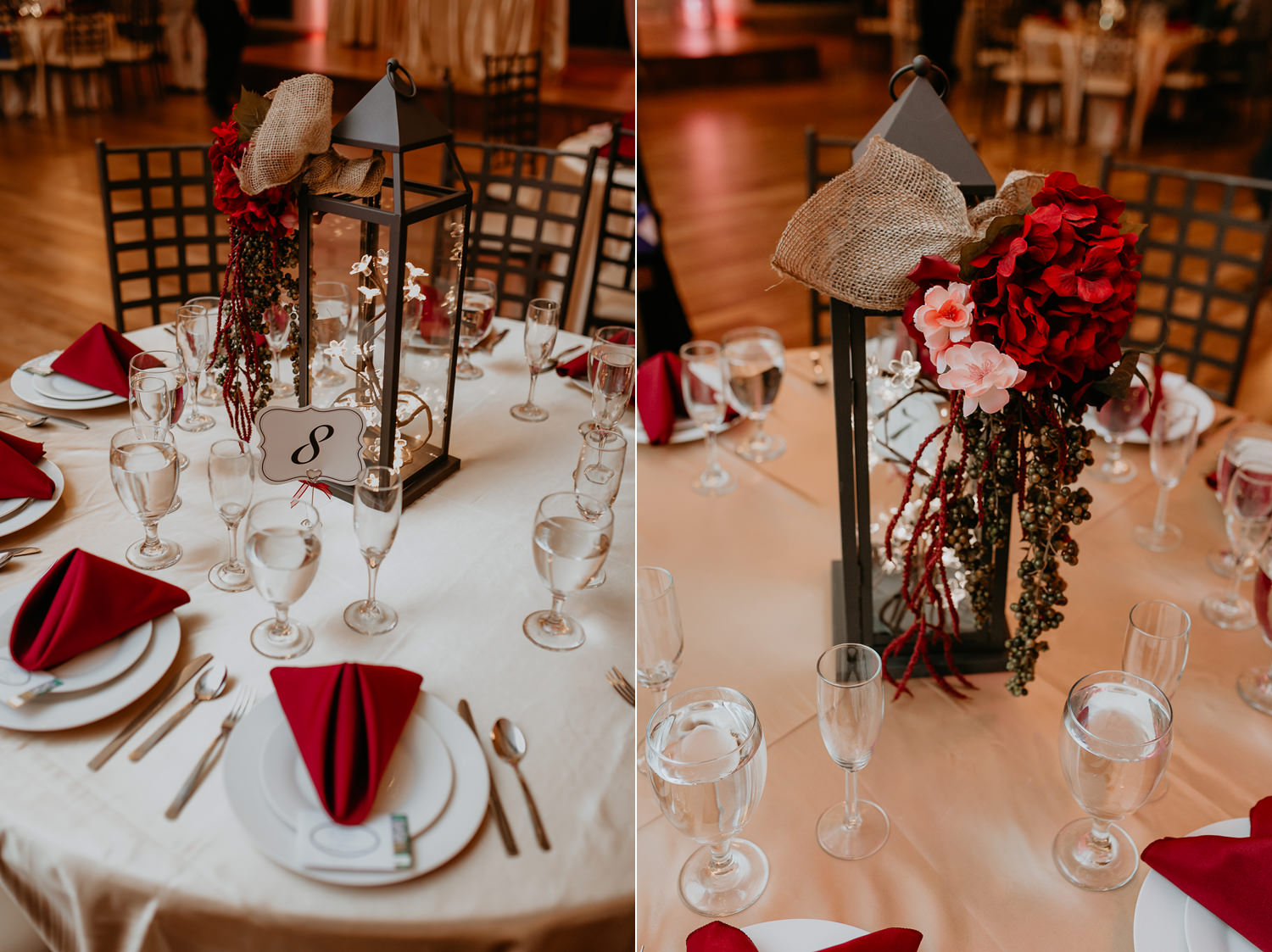 noahs event venue wedding table details with red napkins