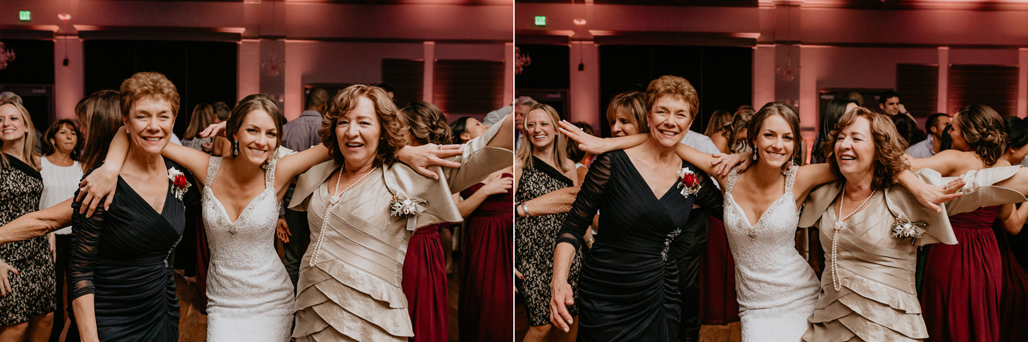 bride dancing with her mother and the grooms mother