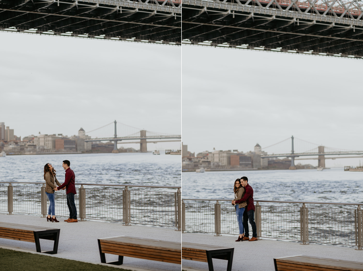 wide view of couple holding hands body separate laughing