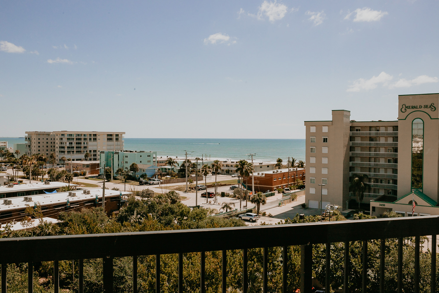 view of cocoa beach from hotel balcony