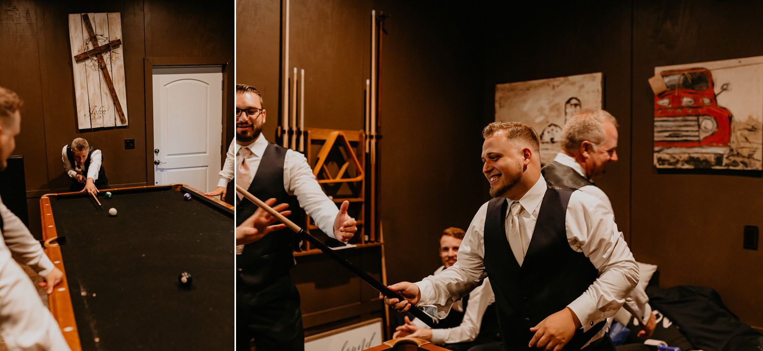 groomsmen planning pool, groom laughing holding pool stick