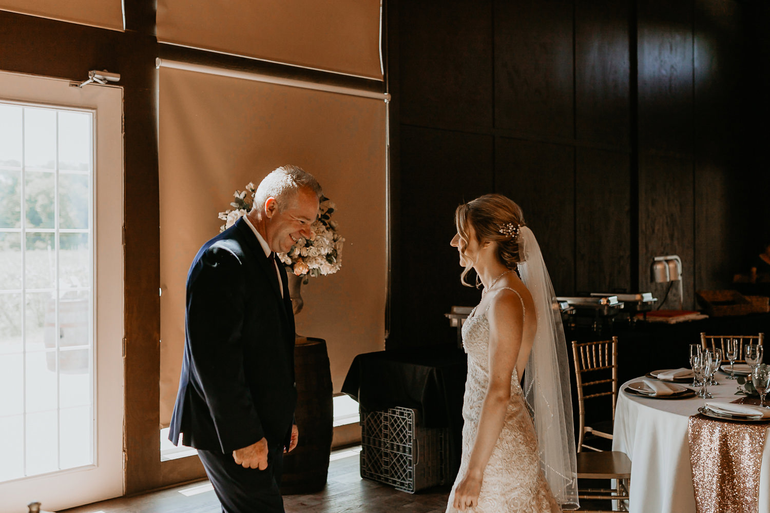 father of the bride surprised to see his daughter during the first look