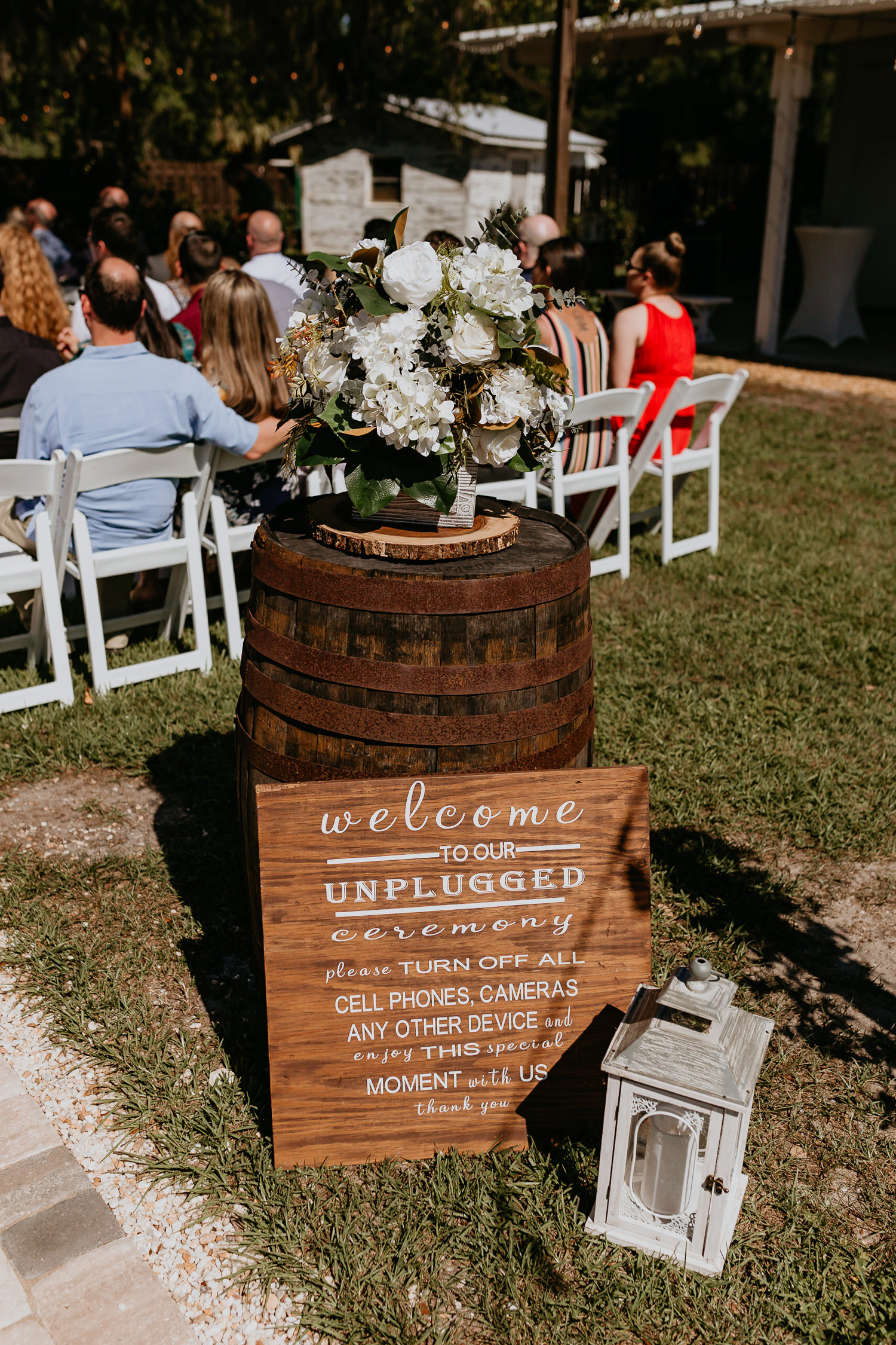 unplugged wedding sign at ever after farms