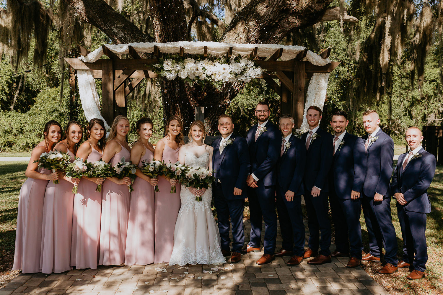 bridal party and newlyweds all lined up posing for camera, Spanish moss trees
