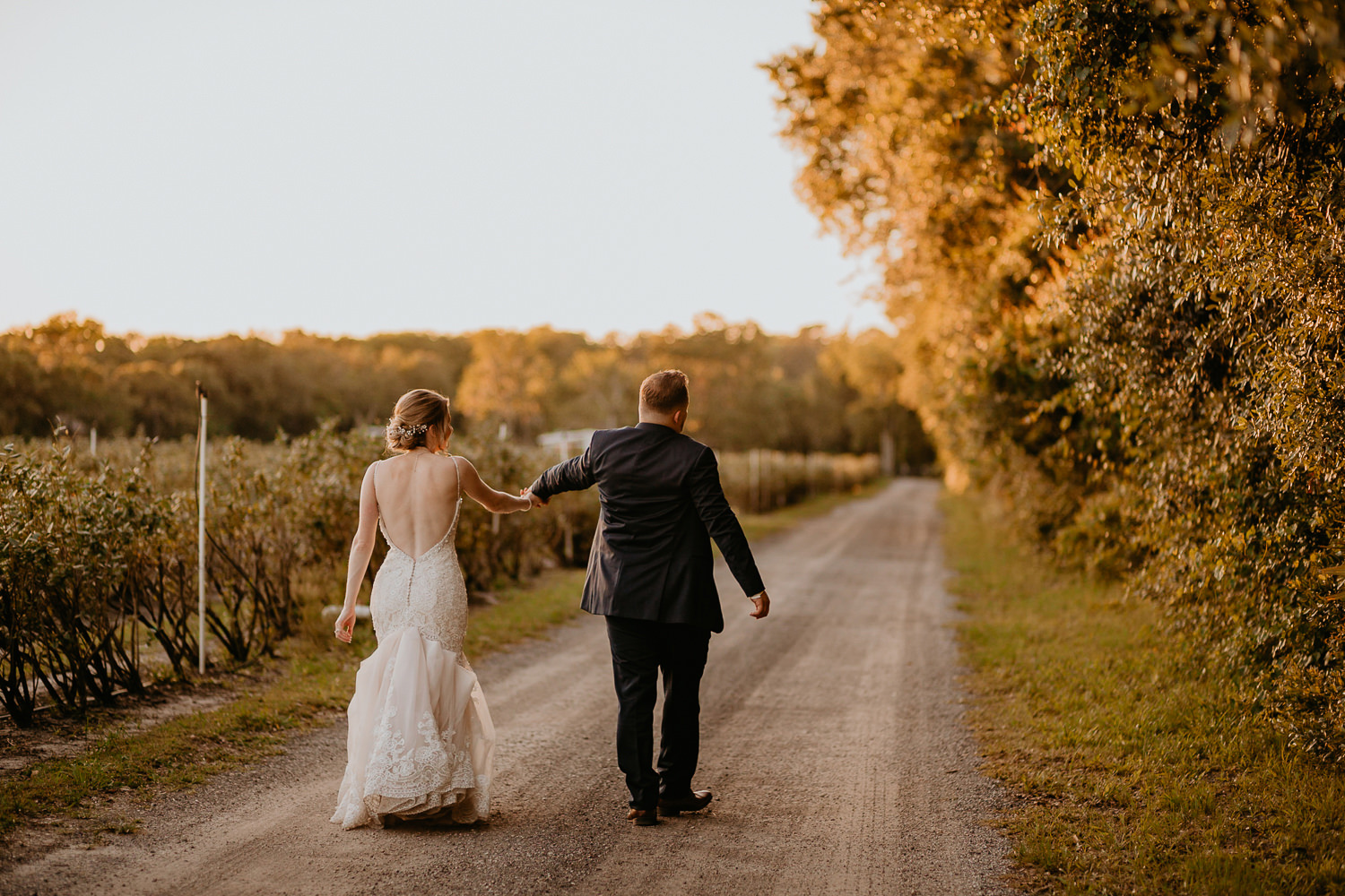 wide shot of newlyweds walking away from camera on gravel road
