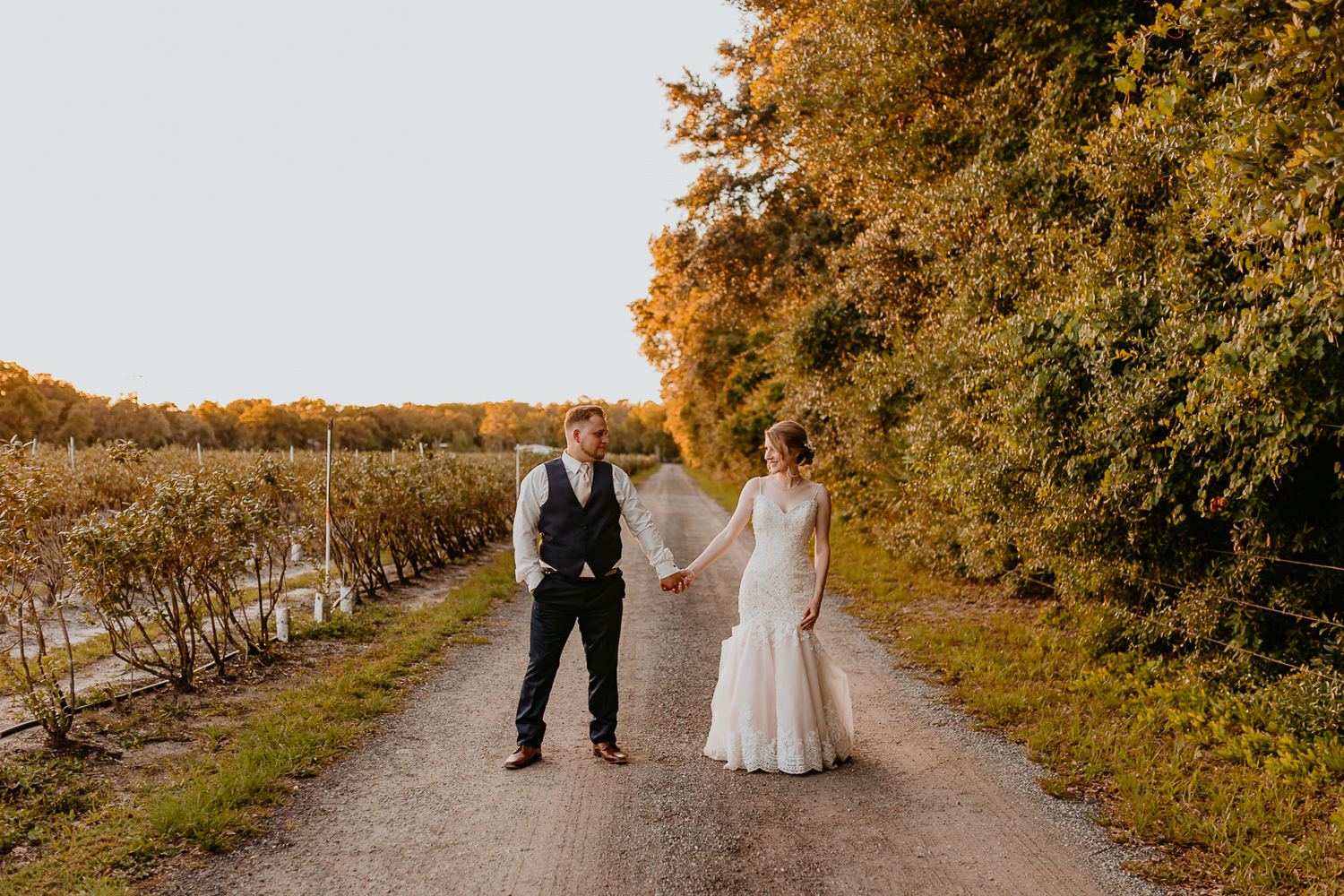 wide shot newlyweds holding hands looking at each other on gravel road