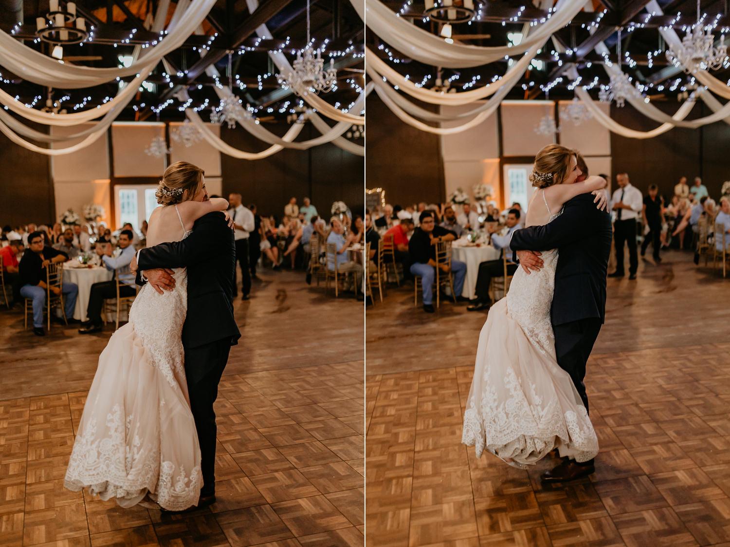 groom picking up his bride after dancing, in the middle of the dance floor