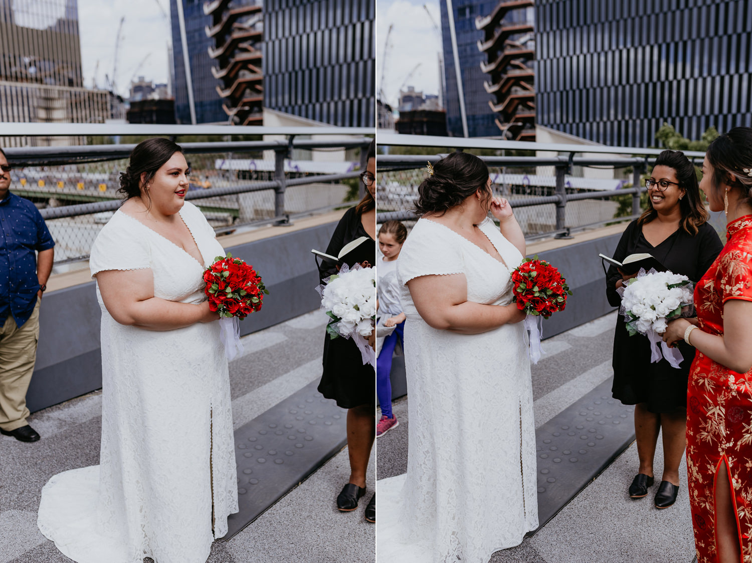 bride face turned away from camera while crying during ceremony