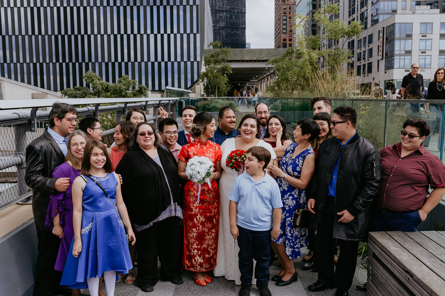 same sex wedding at high line park nyc family picture