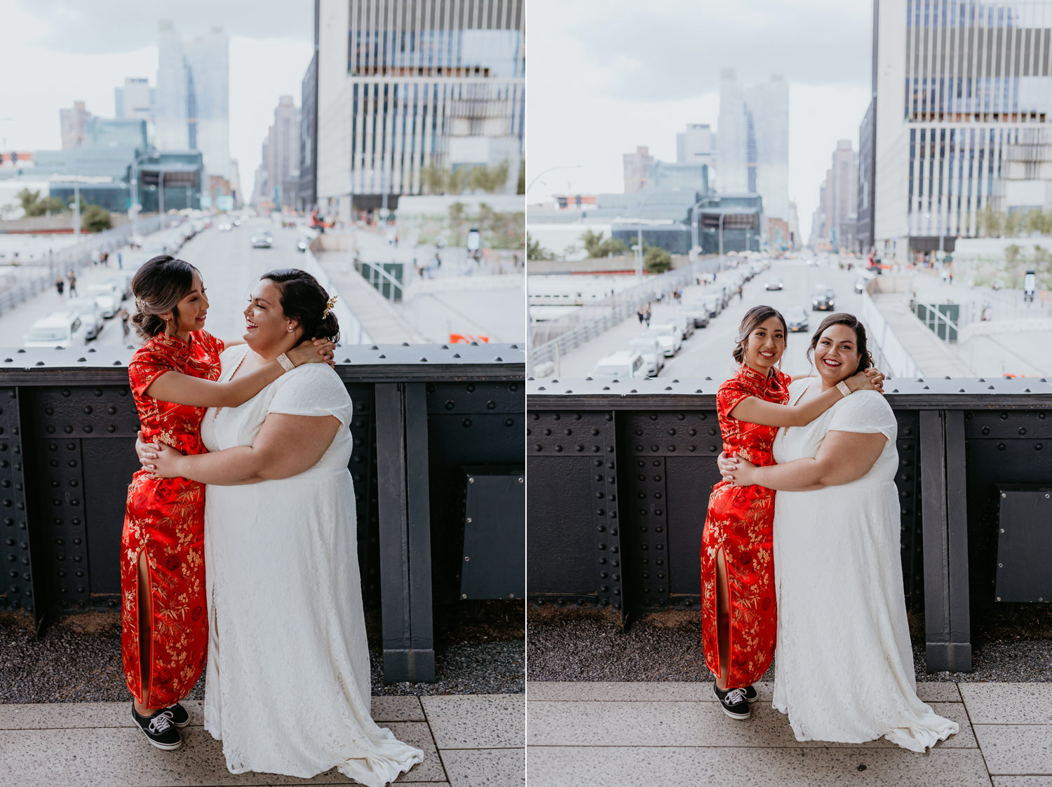 same sex brides hugging and smiling at the each other at high line park bridge